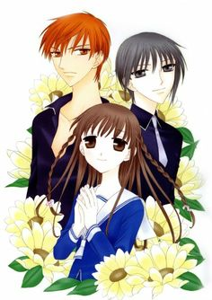 These are characters from a very popular anime called Fruits Basket (The red-head is Kyo, the girl is Tohru, and the silver-haired guy is named Yuki. Anime Manga, Anime Art, Anime Kiss, Fruits Basket Manga, Yuki Sohma, Anime Reviews, Drame, Romance, Anime Merchandise