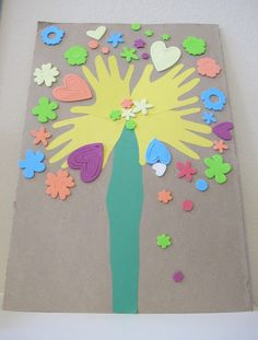 Heart Hand Print Tree....could make with spring theme