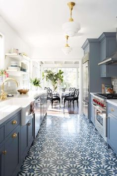 Beautiful kitchen inspiration with amazing tile floor - Emily Henderson