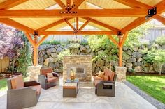Patio fireplaces are the number one design today, and provide a better job of anchoring an outdoor living room for an authentic outdoor fireplace. Outdoor fireplaces continue to grow in popularity wit Backyard Pavilion, Outdoor Pavilion, Backyard Patio Designs, Backyard Landscaping, Patio Ideas, Backyard Shade, Porch Designs, Gazebo Ideas, Backyard Retreat
