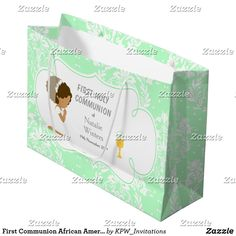 First Communion African American Thank You Large Gift Bag Holiday Cards, Christmas Cards, First Communion Invitations, Custom Gift Bags, Large Gift Bags, Brunette Hair, Christmas Card Holders, Invitation Design, Girl Hairstyles