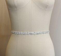 "CECILE - Thin Crystal Bridal Belt Sash - Rhinestone wedding gown sash - Size: Rhinestones Portion 12 1/4"" x 3/8"", plus ribbon"