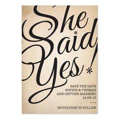 She Said Yes Wedding Invitation | Wedding Invitations
