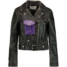 Acne Studios Saxe cracked-leather biker jacket (11.302.350 IDR) ❤ liked on Polyvore featuring outerwear, jackets, black, biker jacket, rider jacket, motorcycle jacket, asymmetrical zip moto jacket and asymmetrical zip jacket