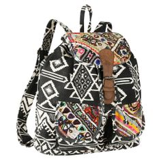 ZL Printed Canvas Tribal Backpack, $73.00 With an ethnic print and Indian embroidered details, you'll want to travel everywhere with it!  #Voguette #Bohemianstyle #Bohemianbags #Bohochic #Ethnicbags #Bohemianlife #Bohemianlifestyle #Globalbags #ZLbags #ZLbackpacks #ZLbohemianbags