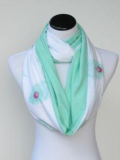 Infinity scarf teal seafoam green peacock by HappyScarvesByLesya