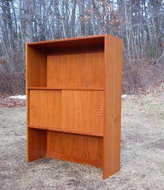Vtg Mid Century Danish Modern Teak Bookcase Shelves Entertainment Unit Cabinet #DanishModern