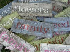 Rustic Stenciled Signs. Maybe this would be a cool idea for the kids to make for their rooms... the sign can say anything. I love the rusty wire hanger.