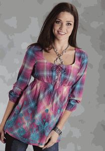 Pink and Blue Jewel Ombre Cotton Plaid 3/4 Sleeve Empire Peasant Top