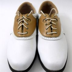 Womens Etonic Golf Shoes Size 6.5M White Brown Soft Spikes Cleats 2 Toned #Etonic #Shoes