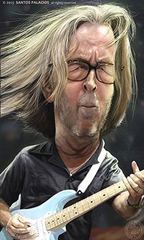 Eric Clapton-Caricaturas-Caricatures - Santos Palacios
