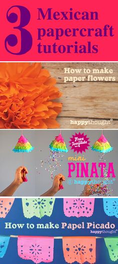3 Mexican papercraft tutorials for Cinco de Mayo on the Happythought site. https://happythought.co.uk/