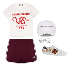 """simple ""go-to-cinemas"" outfit"" by angeline-mewengkang on Polyvore featuring adidas, Gucci and Natasha Zinko"