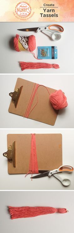 """String them from a garland or dangle them from a jumbo balloon; whimsical yarn tassels are fun for any occasion! First, wrap yarn around a clipboard about 25 times. Trim along the bottom. Next, cut another piece of yarn and knot it about 1""""down from the top to create a bulb. Add a loop of yarn & jump ring to the top of your tassel for easy hanging. Trim the bottom so that all pieces are the same length and you're done!"""