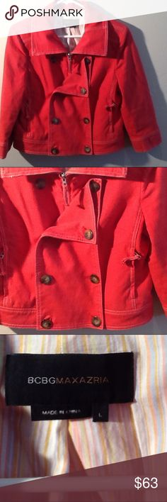 """BCBGMAXAZRIA Double-Breasted Tomato Red Jacket Saucy double-breasted, short jacket. Multiple looks with zippers and buttons. 2 zippered front pockets. Buttons on cuffs. Cream lining with multi-colored vertical stripes. White double over-stitching for decorative seams. 98% cotton, 2% spandex; lining-100% cotton. Dry clean. 19"""" from shoulder seam. BCBGMaxAzria Jackets & Coats Jean Jackets"""