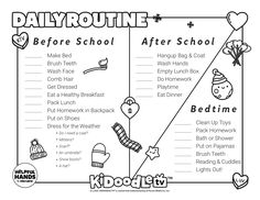 Print and color in your very own Daily Routine sheet and don't forget to tag us on Instagram (@kidoodletv) to get featured! Routine Printable, Printable Coloring Sheets, Do Homework, Clean Shoes, Activity Sheets, How To Make Bed, After School, Face Wash, Some Fun