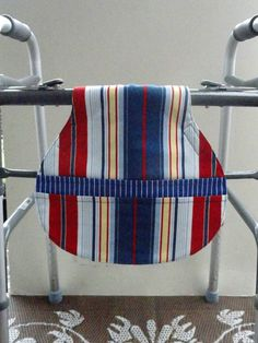 Walker Bag for Men Red and Blue Stripe with Pockets