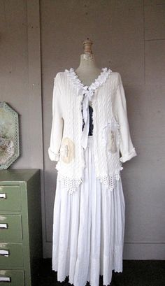 SALE upcycled clothing shrug Romantic white door lillienoradrygoods