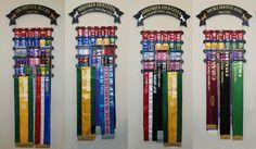 Dog show ribbon crafts Horse Ribbon Display, Show Ribbon Display, Horse Show Ribbons, Ribbon Quilt, Ribbon Art, Ribbon Crafts, Ribbon Boards, Trophy Display, Award Display