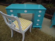 SO cute! The insides of the drawers are even lined with the same yellow chevron as the chair! From Chrissie's Collections: Chic in Turquoise