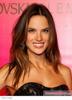 Alessandra Ambrosio Center Part Hairstyle