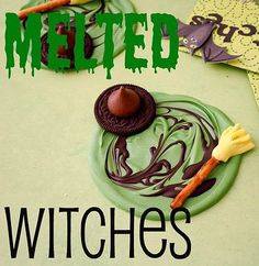 """Absolutely making these """"Melted Witches"""" for our costume party this Halloween! -- super SIMPLE, super cute NO BAKE Halloween treat! Halloween Goodies, Holidays Halloween, Halloween Treats, Happy Halloween, Halloween Party, Halloween Decorations, Halloween Stuff, Halloween Recipe, Scary Halloween"""
