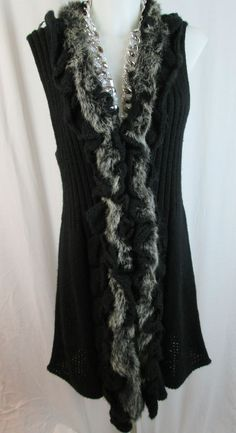 Long Black Wool Sweater Vest Rabbit Fur Trim size XL #Sioni