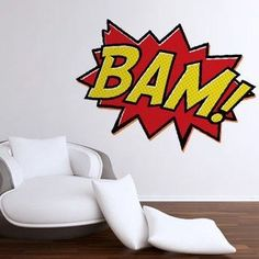 BAM! Wall Sticker - 40 Inch by Wall Sticker Shop Signature. $49.99. The designs are made of vinyl with a matte finish. The matte finish looks like they have been painted right on your walls. This style is 48 inches in size. Designed by Scribble.