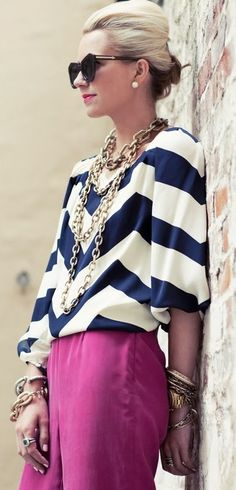 chevron top and pink pants - love it!