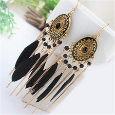 Our cute BOHO style long feather tassel fashion earrings are so cute for any outfit. Made from zinc alloy and stone these trendy bohemain drop earrings are made to last. Available in a variety of colors. Long Tassel Earrings, Feather Earrings, Statement Earrings, Women's Earrings, Wedding Earrings, Style Ethnique, Gland, Hippie Jewelry, Hippie Bracelets