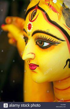 Clay Idol of Devi Durga (Hindu goddess) made by the artisan of Kumortuli, Kolkata, West Bengal,India. Maa Durga Image, Durga Maa, Shiva Shakti, Lord Durga, Durga Puja Wallpaper, Durga Picture, Durga Painting, Kali Mata, Durga Images