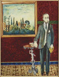 Mårten Andersson: porträtt av Dostojevskij, 1958, akvarell med täckvitt på papper, 34x26 cm - Bukowskis Market 11/2016