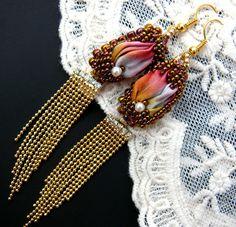 Bead embroidered earrings Shibori silk ribbon Beadwork  seed beaded jewelry Ooak on Etsy, $66.92 AUD