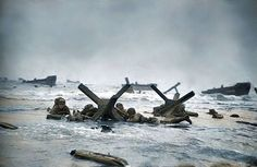 'Easy Red Sector', Omaha Beach - approx. 0700 on the 6th June 1944 Photographer Robert Capa landed at Easy Red Sector, Omaha Beach with the men of Easy Company, the 2nd battalion, 16th Infantry Regiment, US Army 1st Division. (Colourised by Royston Leonard UK)