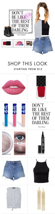 """""""Shorts + Top"""" by priscilla14ster on Polyvore featuring moda, Lime Crime, Gucci, Eyeko, T By Alexander Wang, NLY Trend, Warehouse, BCBGeneration, Maison Margiela e ootd"""