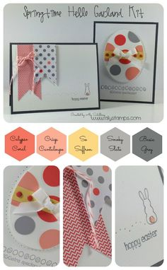 These sweet Easter Cards use the Springtime Hello Garland Kit! Video Tutorial with Tips on the blog.