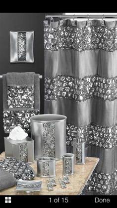 Popular Bath Sinatra Silver Shower Curtain Shower Decor Curtain Home, NEW My New Room, My Room, Silver Shower Curtain, Silver Bathroom, Bling Bathroom, Glitter Bathroom, Hall Bathroom, Bathroom Ideas, Modern Bathroom