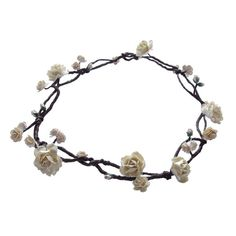 Boho Floral Crown Circlet Hair Vine with ivory flowers roses - Beach... ($61) ❤ liked on Polyvore