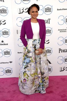 ava duvernay 2015 Ava Duvernay has been looking lovely all awards season, no? She shined in a purple blazer, white top, and floral skirt. Love it.