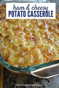 An easy recipe for cheesy potato casserole! its perfect for making for parties and using leftover ham from the holidays! need something quicker than a casserole eat one of these easy 30 minute meals instead! ham and noodle casserole with leftover ham Ham And Potato Casserole, Cheesy Potatoes, Casserole Dishes, Breakfast Casserole, Leftover Ham Casserole, Baked Potatoes, Scalloped Potatoes And Ham, Pumpkin Casserole, Tamale Casserole