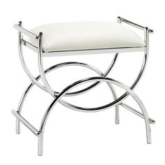 Home Decorators Collection Curve Chrome Vanity Stool Bench,White Upholstered for sale online Bathroom Vanity Chair, Vanity Seat, Bathroom Furniture, Master Bathroom, Vanity Chairs, Bathroom Ideas, Bathroom Organization, Bath Ideas, Master Bedrooms