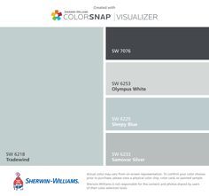 I found these colors with ColorSnap® Visualizer for iPhone by Sherwin-Williams: Tradewind (SW 6218), Cyberspace (SW 7076), Olympus White (SW 6253), Sleepy Blue (SW 6225), Samovar Silver (SW 6233).