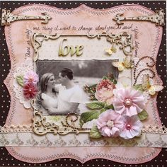 "Scrap page made by Gabrielle Pollacco using Websters Pages ""In Love"" collection papers and Fabric Trim (blooms are handmade, for link to tutorial click on photo)"