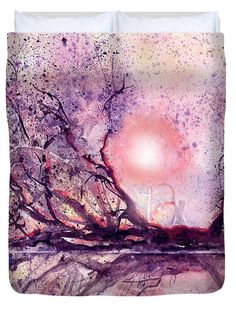 Sunset Swamp Duvet Cover featuring the painting Sunset Swamp by Sabina Von Arx Watercolor Paintings, Original Paintings, Creative Colour, Season Colors, You Are Awesome, Painting Techniques, Wonderful Images, Clear Acrylic, Colorful Backgrounds