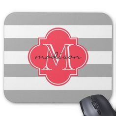 Gray and Red Nautical Stripes Custom Monogram Mouse Pad
