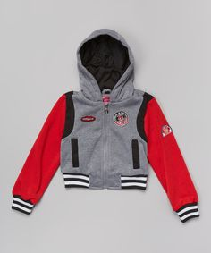 Look at this Dollhouse Red & Gray Varsity Fleece Hooded Jacket - Infant, Toddler & Girls on #zulily today!