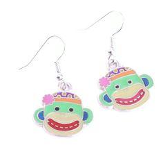 Green Sock Monkey Earrings by SummerWilson8 on Etsy, $2.50