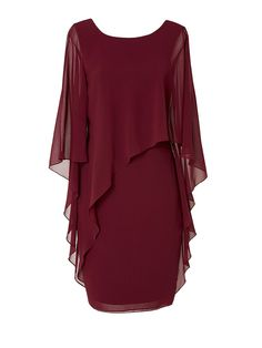 Ciana Cocktail Dress Wine – Montique Mother Of The Bride Looks, Wine Red Color, One Shoulder Gown, Event Dresses, Crepe Dress, Batwing Sleeve, Chiffon Fabric, Mid Length, Cocktails