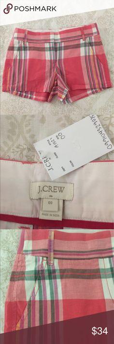 J Crew Madras Shorts Strawberry Plaid Style A1521 Strawberry Plaid Shorts 100% Cotton J. Crew Shorts