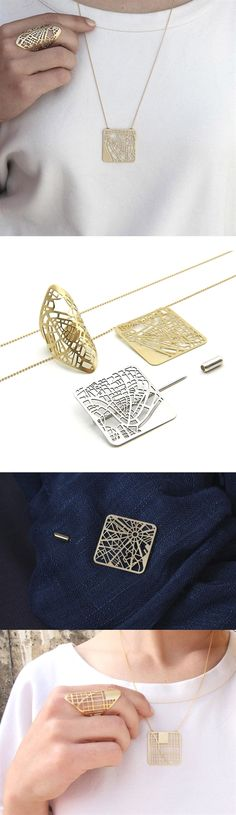 Jewelry Designed From Personalized Maps by Talia Sari #JewelryDesign